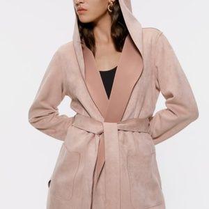 ZARA Faux Suede Jacket in Blush Pink